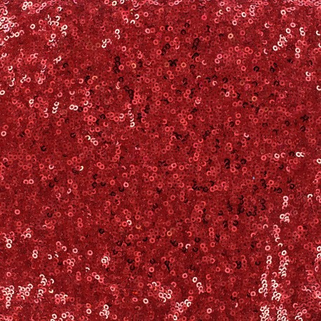 Tissu jersey paillettes Célébration - rouge x 10cm
