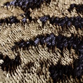 Tissu sequins réversibles mat - noir/doré x 10cm