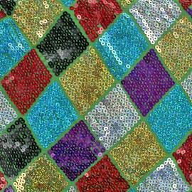 Tissu jersey paillettes Arlequin - vert x 10cm