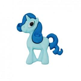 Bouton polyester Petite licorne - bleu