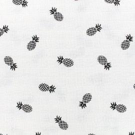 Cotton muslin fabric Ananas - black x 10cm