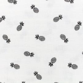 Tissu lange de coton Ananas - noir x 10cm