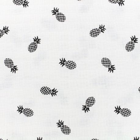 Cotton muslin fabric Ananas - black x 10cm
