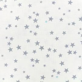 Tissu lange de coton Etoiles - gris/ciel x 10cm