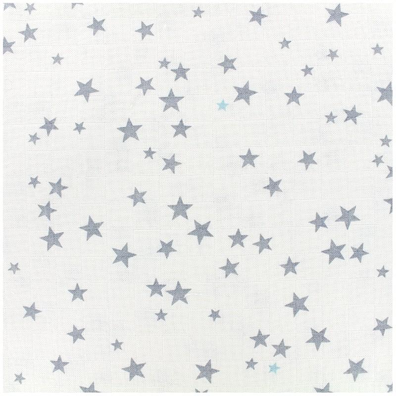 Tissu lange de coton Etoiles - gris ciel x 10cm - Ma Petite Mercerie f0330d331416