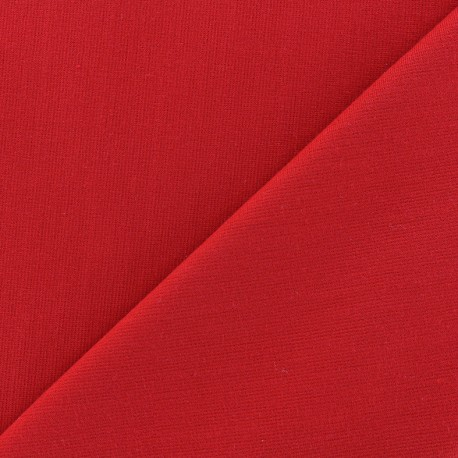 Heavy plain Milano jersey fabric - red x 10cm