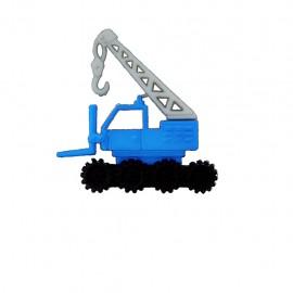 Bouton polyester Camion grue - bleu