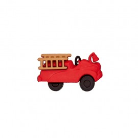 Bouton polyester Camion pompier - rouge