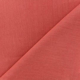 Large width linen fabric - coral x 10cm
