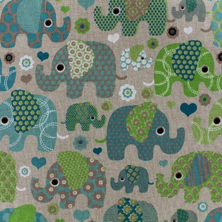 Cotton Canvas Fabric Elephant - green x 10cm