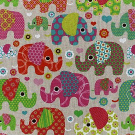 Cotton Canvas Fabric Elephant - pink x 10cm