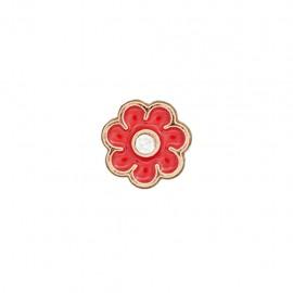 Bouton metal Fleur émaillée - rouge