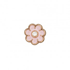 Bouton metal Fleur émaillée - rose dragée