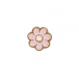 Metal button Fleur émaillée - pale pink