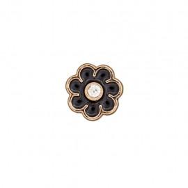 Bouton metal Fleur émaillée - noir