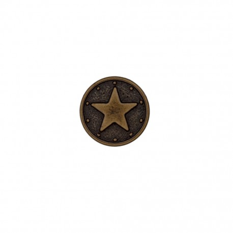 Bouton polyester Metallic star - bronze