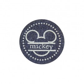 Dark denim iron on patch - mickey