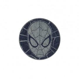 Dark denim iron on patch - spider-man