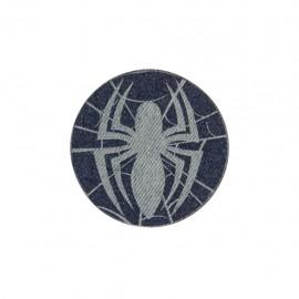 Dark denim iron on patch - spider