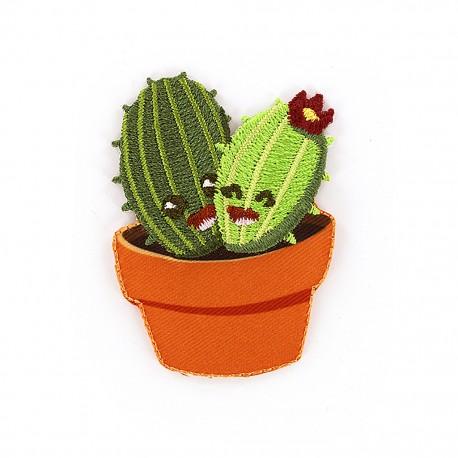Joyeux cactus iron on patch - duo
