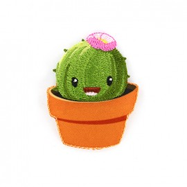 Joyeux cactus iron on patch - rond