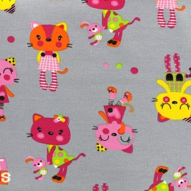 Jersey fabric Kittens - grey x 28cm