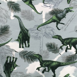 Jersey fabric Dinosaures - blue x 27cm