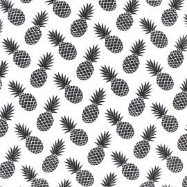 Tissu Jersey Ananas - noir/blanc x 10 cm