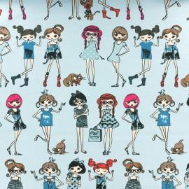 Jersey fabric Miss Fashion - sky x 34cm