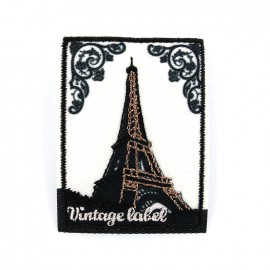 Vintage label iron on patch - Paris