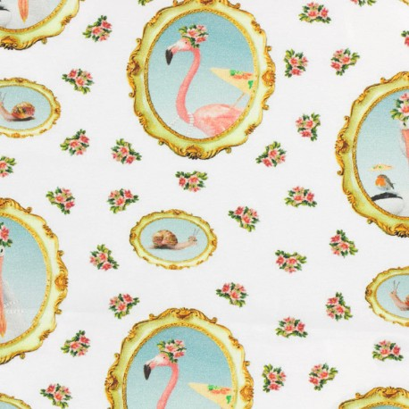 Jersey fabric Médaillon Flamant rose - white x 16cm