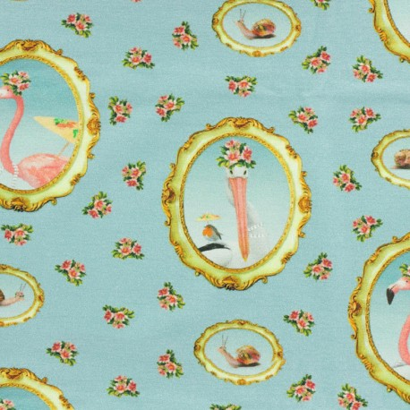 Jersey fabric Médaillon Flamant rose - blue x 16cm