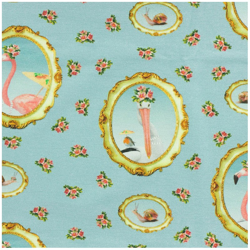 Jersey fabric m daillon flamant rose blue x 16cm ma petite mercerie - Flamant rose decoration ...