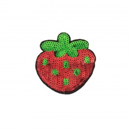 Sequin addiction sequin iron on patch - strawberry