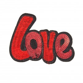 Sequin addiction sequin iron on patch - love