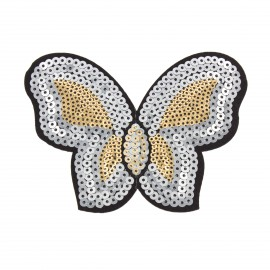 Papillon sequin iron on patch - silvered/golden