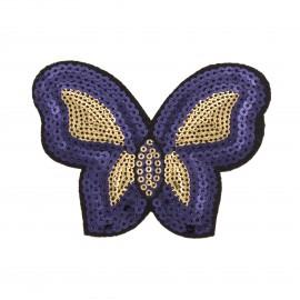 Thermocollant sequins  Papillon - bleu/doré