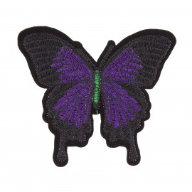 Embroidered Papillon iron-on patch - purple/black
