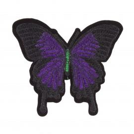 Thermocollant brodé Papillon - violet/noir