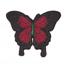 Thermocollant brodé Papillon - rouge/noir