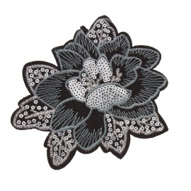 Thermocollant sequins  Poinsettia - argent
