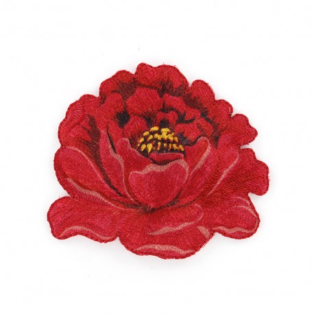 Embroidered Pivoine iron-on patch - red