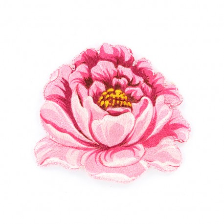 Embroidered Pivoine iron-on patch - pink
