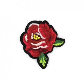 Thermocollant brodé Rose - rouge groseille