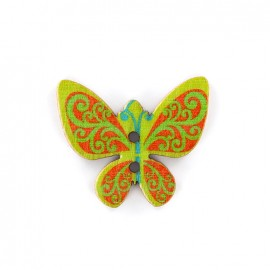 Bouton bois Minute papillon - vert/orange
