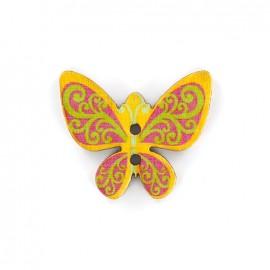 Bouton bois Minute papillon - jaune/rouge/vert