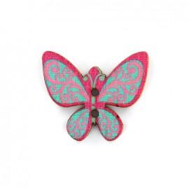 Bouton bois Minute papillon - rose/bleu