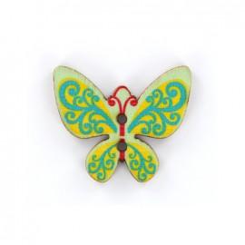 Bouton bois Minute papillon - vert/jaune