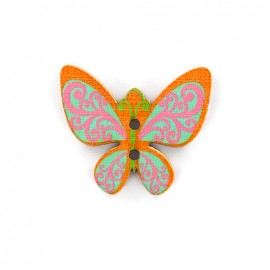 Bouton bois Minute papillon - orange/rose/bleu