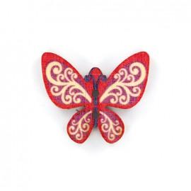 Bouton bois Minute papillon - rouge/violet/blanc